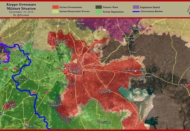 Tình huống chiến trường Aleppo sau cuộc tấn công giải phóng các quận phía đông Aleppo