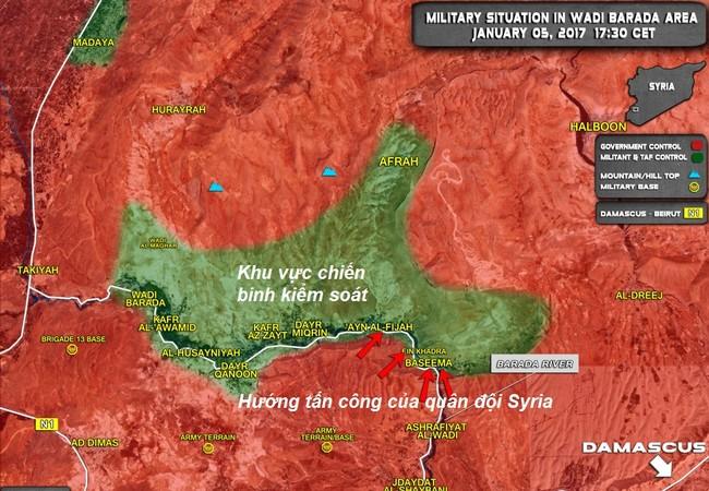 Toàn cảnh bản đồ chiến sự khu vực  Wadi Barada, Damascus