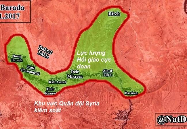 Chiến tuyến khu vực Wadi Barada thu hẹp nhanh chóng