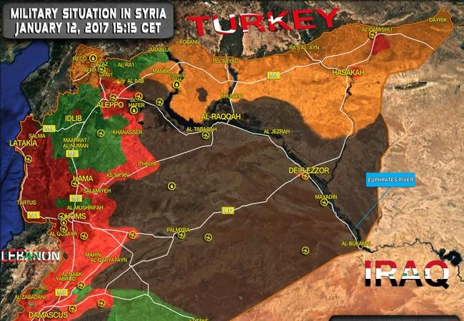 Tương quan lực lượng chiến trường Syria tính đến ngày 12.01.2017
