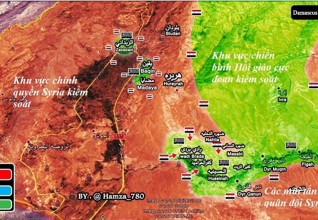 Tình hình chiến sự khu vực Wadi Barada ngoại ô Damascus