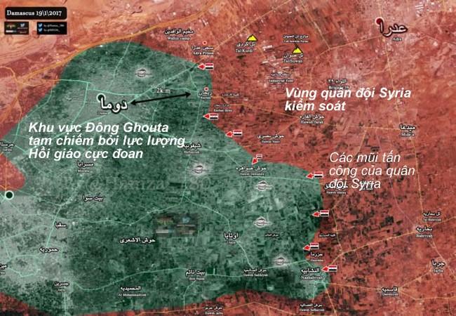 Bản độ chiến sự Đông Ghouta, vùng thị trấn Hazrama