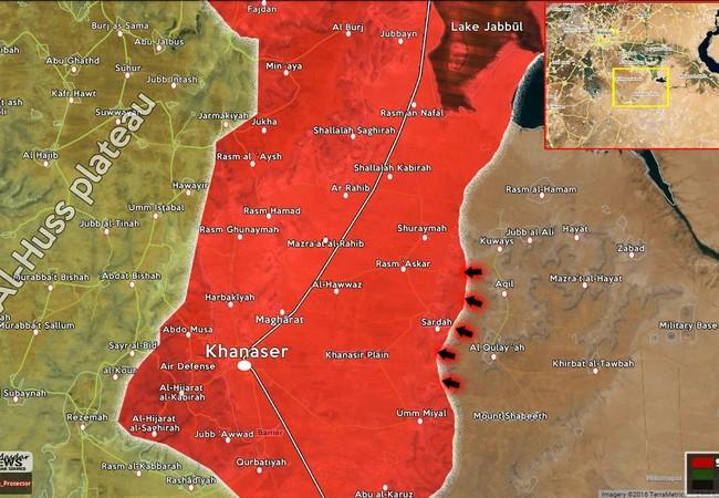 Bản đồ chiến sự khu vực chiến trường Khanasser - Aleppo