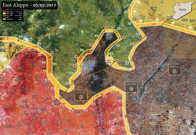Chiến tuyến 3 bên quân đội Syria, Thổ Nhĩ Kỳ, IS tính đến ngày 05.02.2017