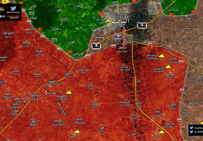 Quân đội Syria chỉ còn 2 km đến cửa ngõ phía đông thành phố Al-Bab