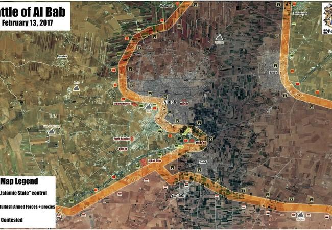 Bản đồ chiến sự thành phố Al-Bab, quân đội Thổ Nhĩ Kỳ tấn công IS
