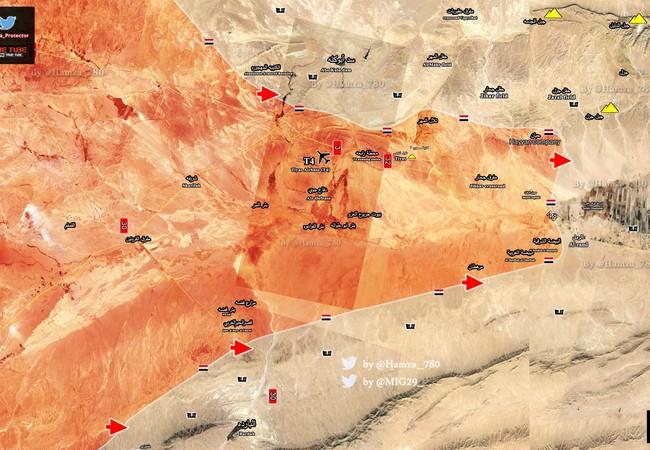 Bản đồ các mũi tiến công của quân đội Syria trên vùng sa mạc Palmyra