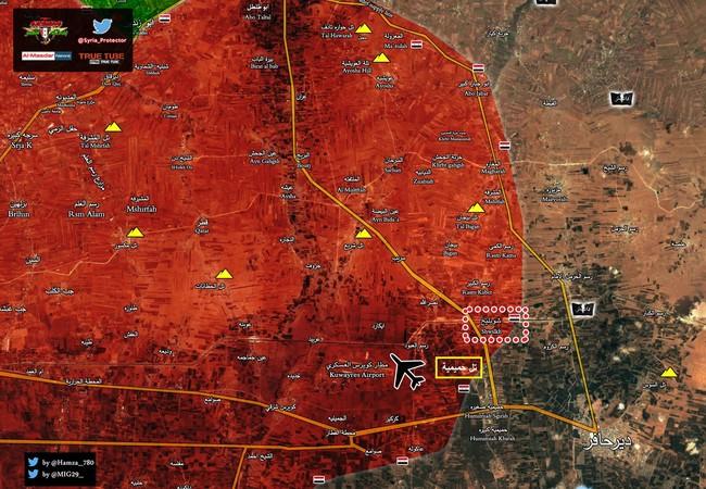 Cao điểm chiến lược Humaymah vừa giải phóng gần sân bay Kuweires, đông Aleppo