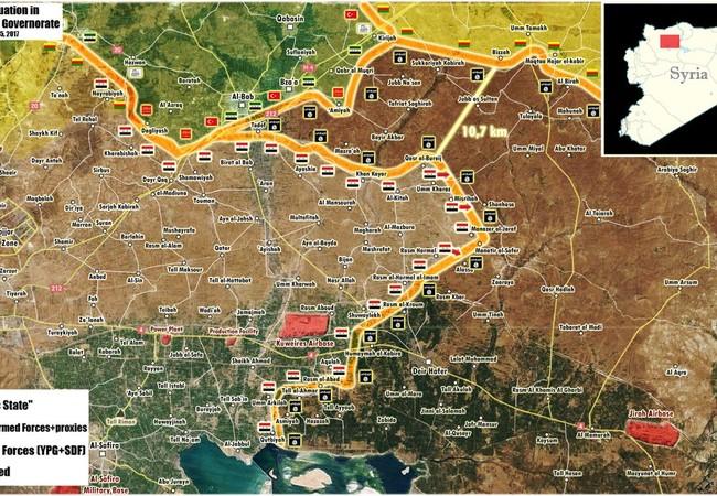 Bản đồ chiến sự phía đông Aleppo, chỉ còn hơn 10 km đến khu vực do người Kurd kiểm soát, thế trận đã hình thành