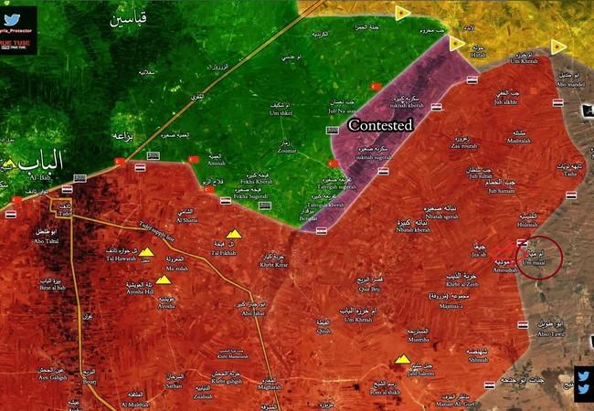 Chiến trường vùng nông thôn phía đông Aleppo, quân đội Syria tấn công làng Um Mayal