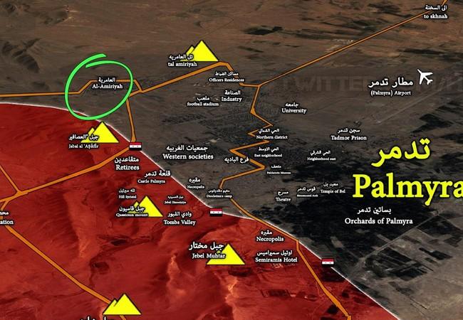 Bản đồ trận tiến công cuối cùng của quân đội Syria vào Palmyra