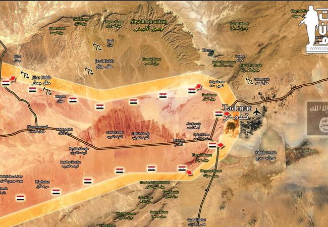 Bản đồ chiến sự Palmyra ngày 01.03.2017