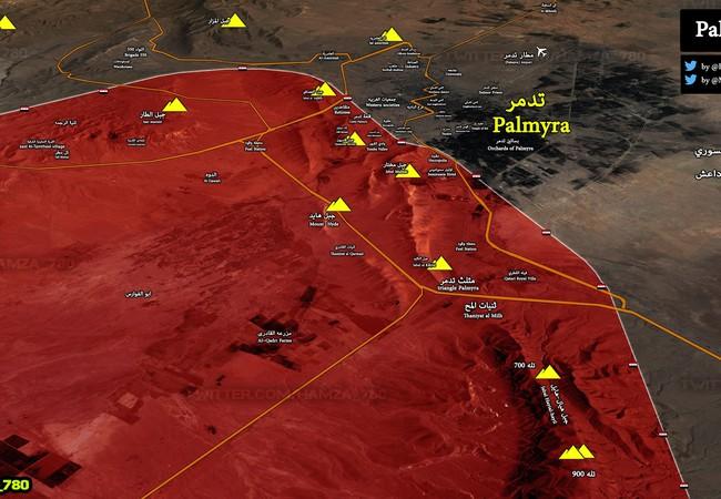 Chiến tuyến quân đội Syria trong địa phận thành phố cổ Palmyra