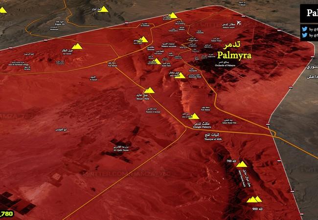 Bản độ chiến sự tỉnh Homs, Palmyra hoàn toàn giải phóng