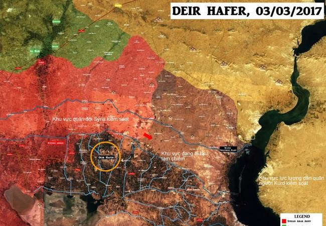 Bản đồ chiến sự vùng ngoại ô phía đông thành phố Aleppo