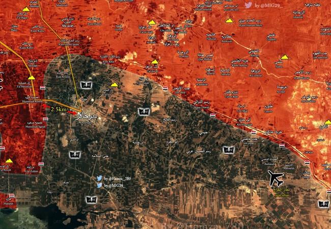 Bản đồ chiến sự vùng nông thôn phía đông Aleppo, vòng vây quanh thị trấn Deir Hafer đang dần siết lại