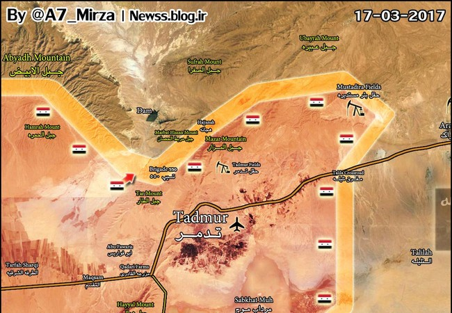 Bản đồ chiến sự thành phố Palmyra ngày 17.03.2017