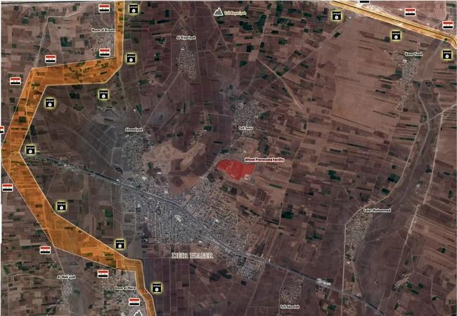 Bàn đồ chiến sự thị trấn Deir Hafer, vành đai phong tỏa đã siết chặt đến ngoại vi thị trấn