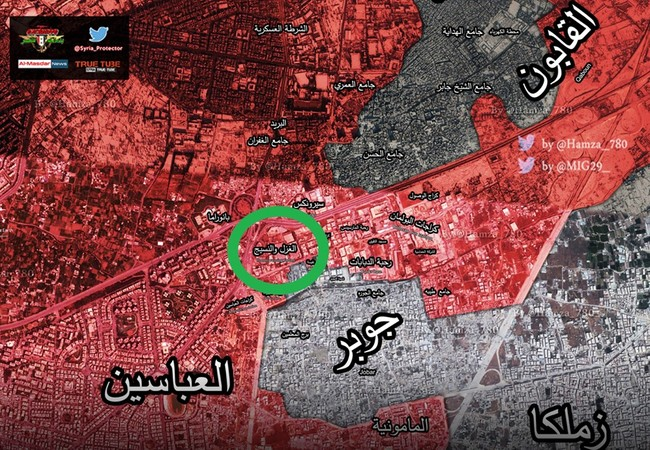 Bản đồ vùng chiến khu vực quận Jobar, ngoại ô Damascus