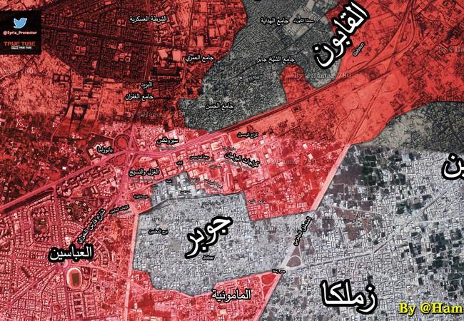 Bản đồ chiến sự khu vực quận Jobar, Damascus