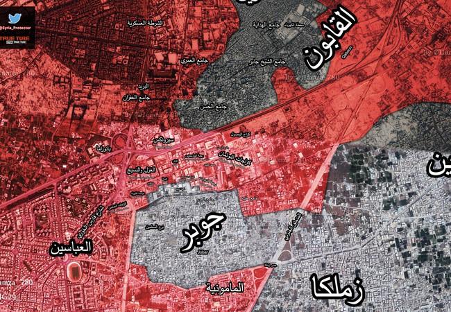 Bản đồ tình hình chiến sự khu vực Jobar - Qaboun tính đến ngày 24.03.2017