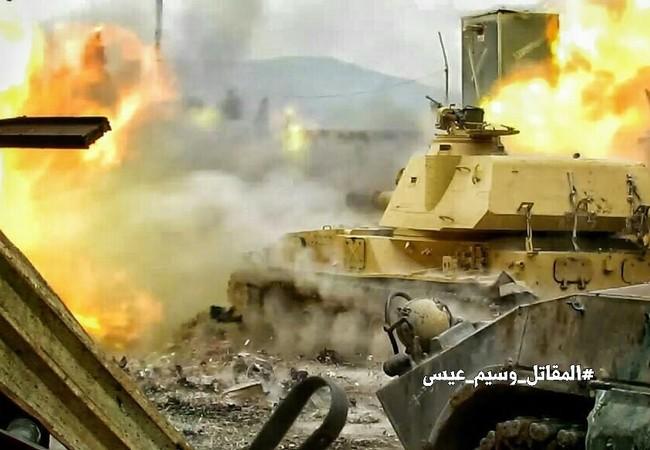 Xe tăng quân đội Syria tấn công ở Damascus