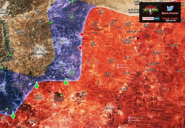 Bản đồ chiến sự vùng nông thôn phía bắc Hama tính đến cuối ngày 25.03.2017