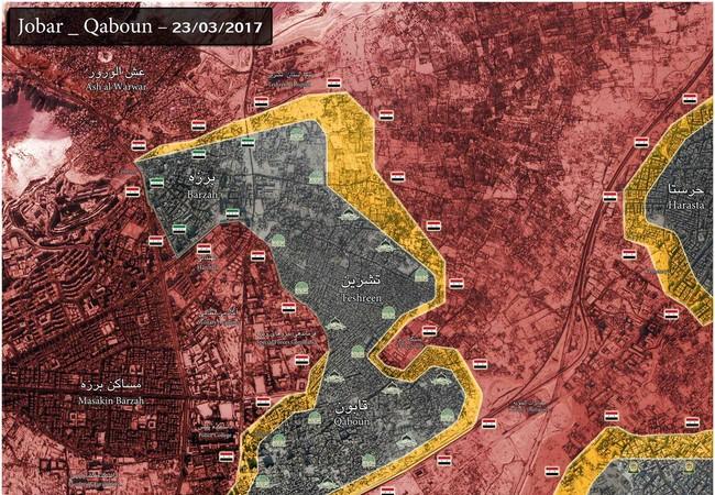 Bản đồ chiến sự Jobar tính đến ngày 23.03.2017
