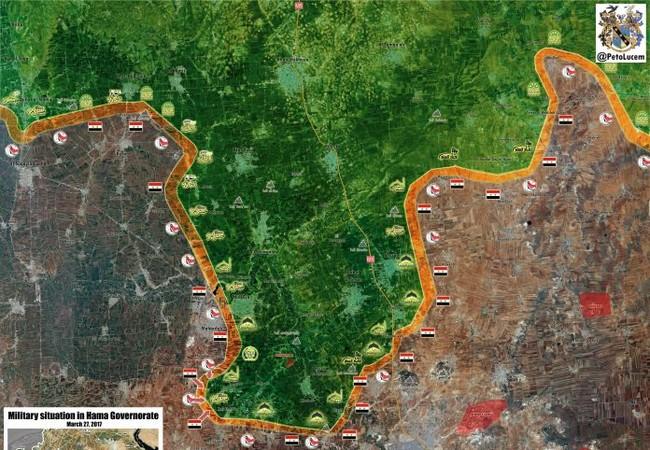 Chiến tuyến quân đội Syria trên địa phận tỉnh Hama tính đến ngày 27.03.2017
