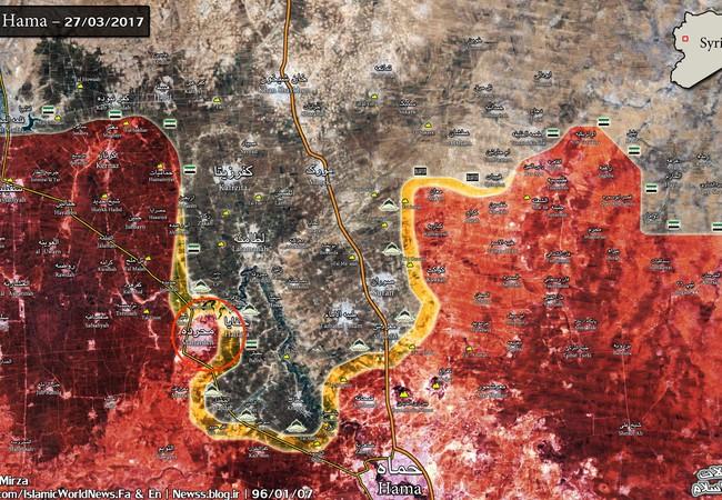 Bản đồ chiến trường phía bắc tỉnh Hama ngày 27.03.2017