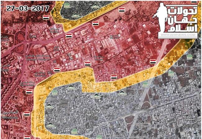 Bản đồ chiến sự khu vực Jobar tính đến ngày 27.03.2017