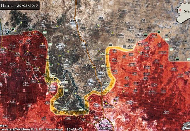 Bản đồ tình hình chiến sự phía Bắc tỉnh Hama tính đến ngày 29.03.2017