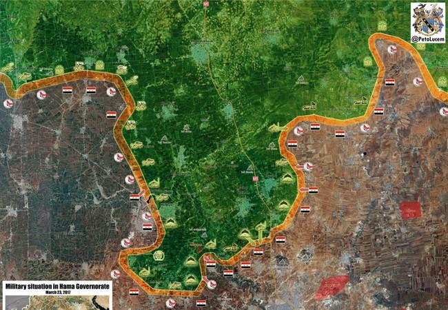 Bàn đồ chiến sự chiến trường Hama tính đến ngày 28.03.2017