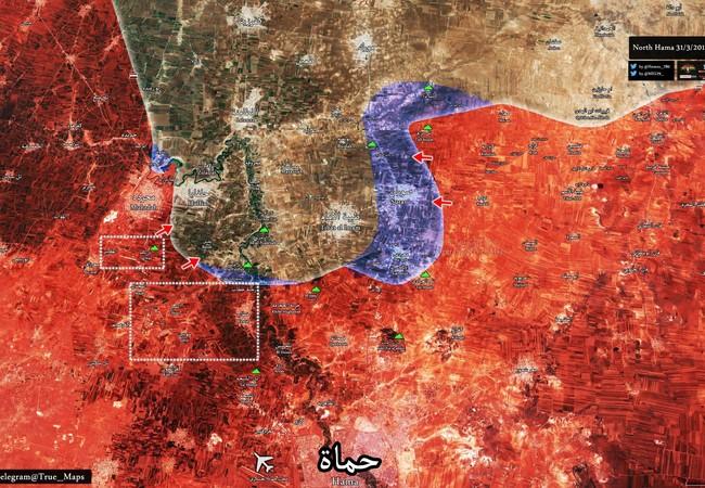 Bản đồ chiến sự chiến trường bắc Hama, tình hình thay đổi nhanh chóng