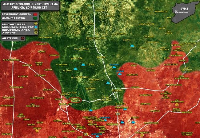 Chiến trường miền bắc Hama tính đến ngày 05.04.2017