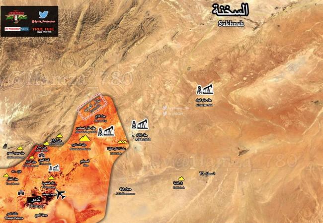 Cao điểm chiến lược thuộc dãy núi Al-Mazbed trên bản đồ Palmyra
