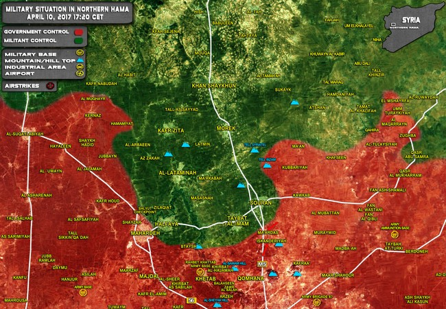 Toàn cảnh chiến trường Hama tính đến 10.04.2017
