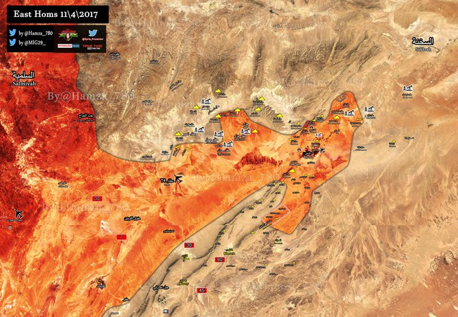 Bản dồ chiến sự chiến trường Palmyra tính đến ngày 11.04.2017