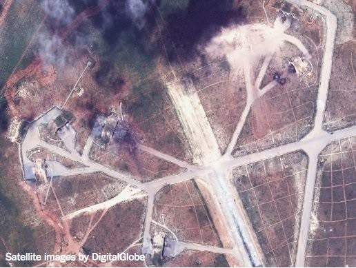 Ảnh vệ tinh chụp sân bay quân sự Al-Shayrat sau cuộc tấn công tên lửa Tomahawk của hải quân Mỹ
