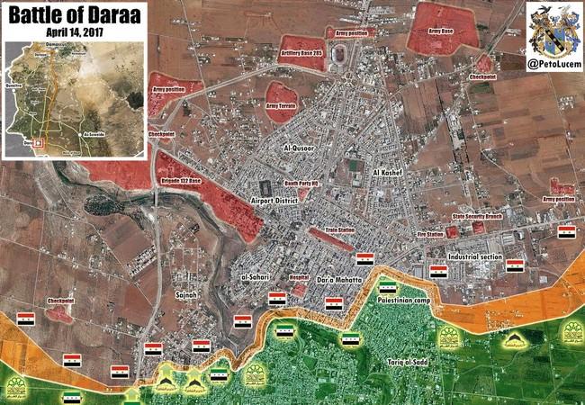 Chiến tuyến thành phố Daraa tính đến ngày 14.04.2017