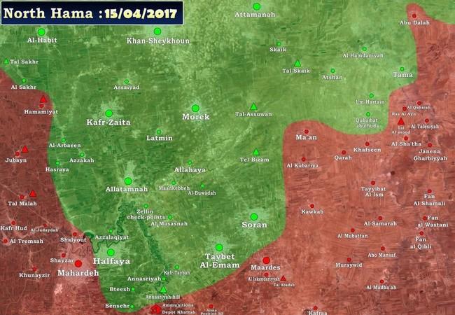 Bản đồ chiến sự miền Bắc tỉnh Hama