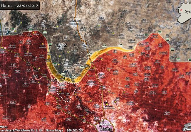 Bản đồ chiến sự Hama ngày 23.04.2017, quân đội Syria giải phóng Halfaya