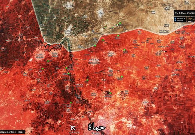 Chiến tuyến miền Bắc tỉnh Hama tính đến ngày 23.04.2017