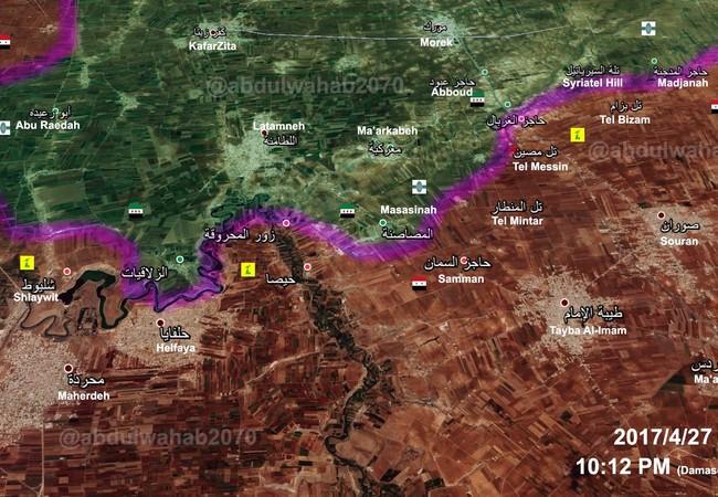 Bản đồ chiến sự miền bắc Hama, tính đến ngày 27.04.2017