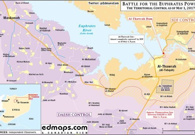 Bản đồ khu vực chiến trường thành phố Tabqa