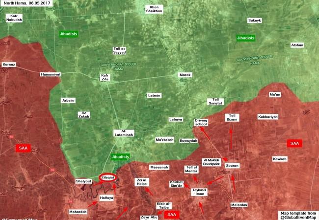 Chiến trường miền bắc Hama, quân đội Syria tấn công làng Zalaqiyat