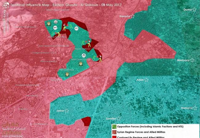 Bản đồ chiến sự quận Al-Qaboun, ngoại ô thủ đô Damascus tính đến ngày 09.05.2017