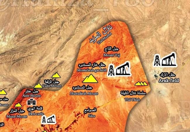 Bản đồ chiến sự phía đông Palmyra, khu vực vừa được quân đội Syria giải phóng
