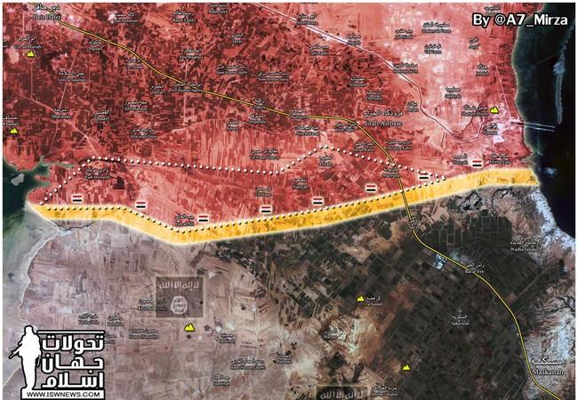 Bản đồ chiến sự trên vùng nông thôn phía đông tỉnh Aleppo