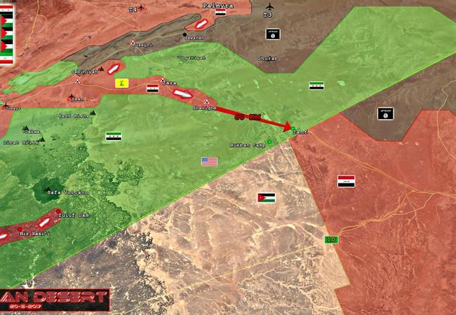 Bản đồ chiến sự vùng biên giới tam giác Iraq, Syria, Jordan, các mũi tấn công chính của quân đội Syria